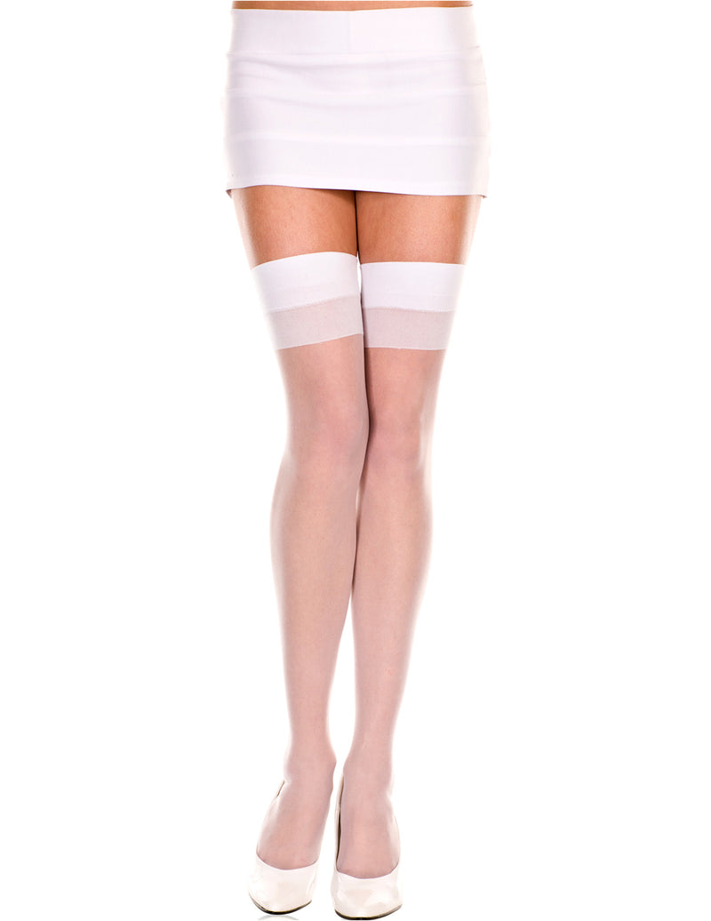 White One Size Sheer Thigh High Stocking, One Size