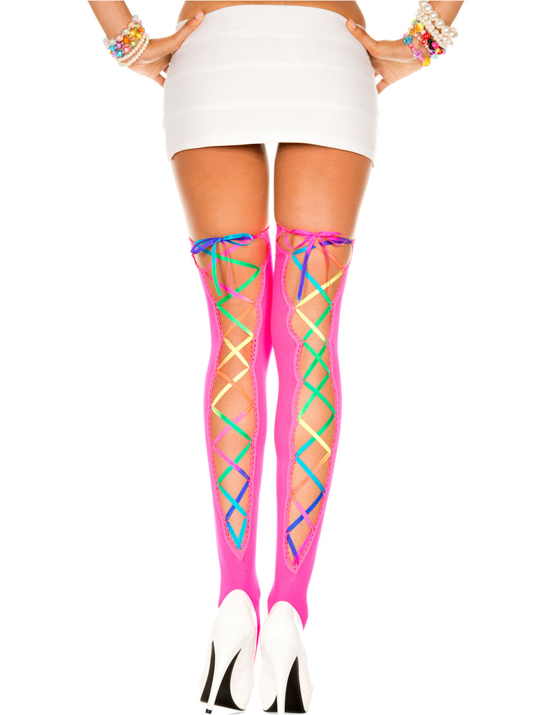Neon Pink and Rainbow Laced Opaque Stocking, One Size