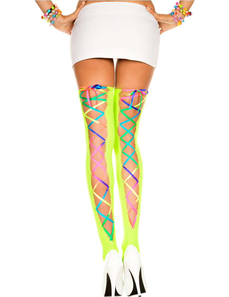 Neon Green and Rainbow Laced Opaque Stocking, One Size