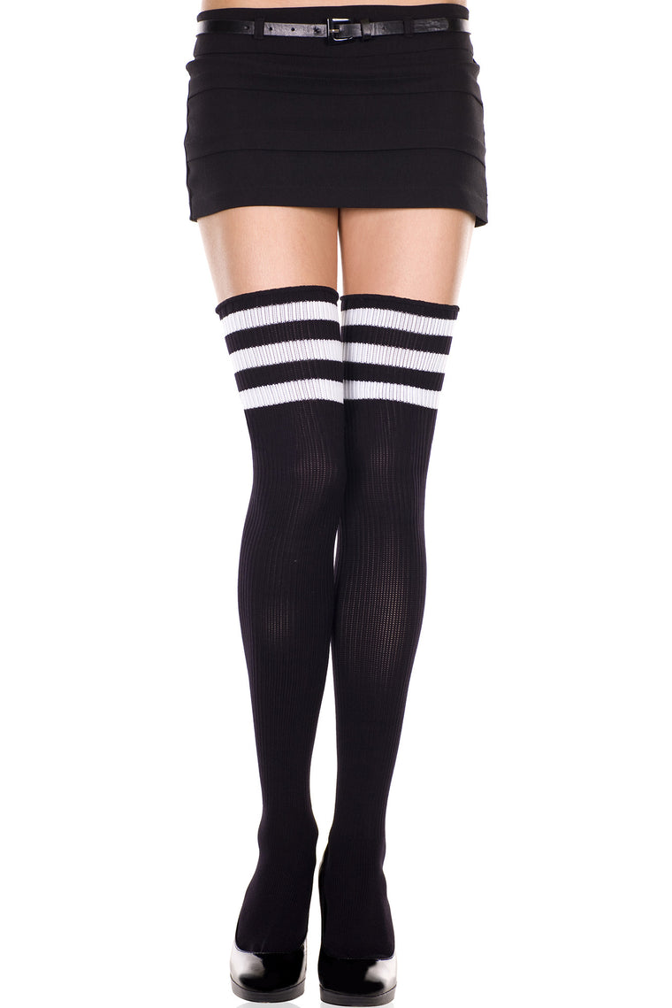 Athlete Acrylic Thigh Hi With Striped Top