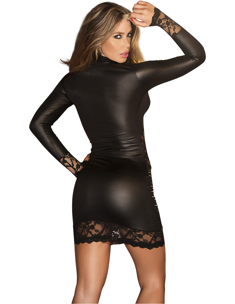 Vinyl and Lace Long-Sleeved Mini in Black