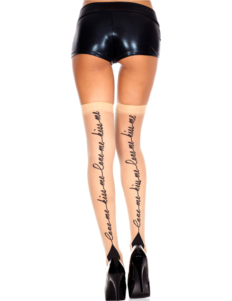 Nude Sheer Thigh Hi with Love Me, Kiss Me Print with Cuban Heel, One Size