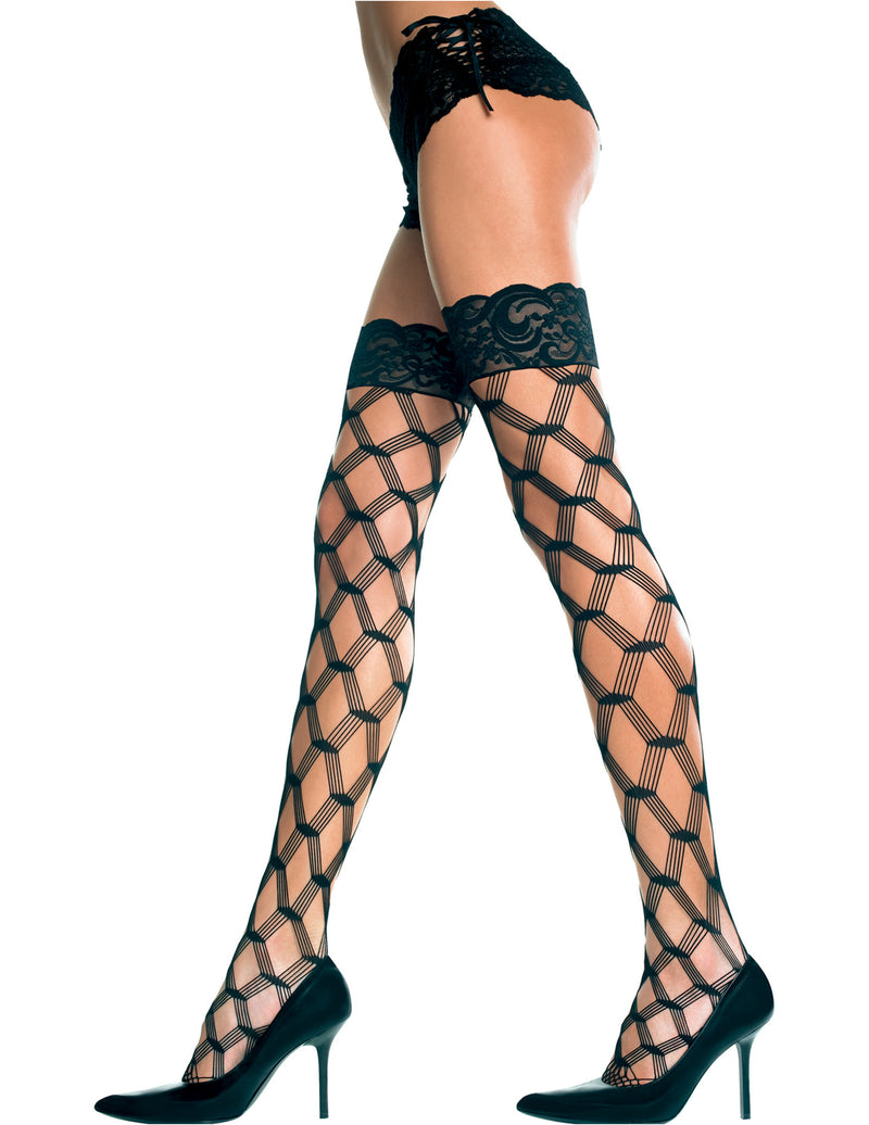 Plus Size Black Lace Top with Silicone Multi Strands Diamond Net Thigh Hi Stocking