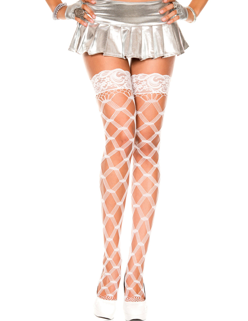 Plus Size White Lace Top with Silicone Multi Strands Diamond Net Thigh Hi Stocking