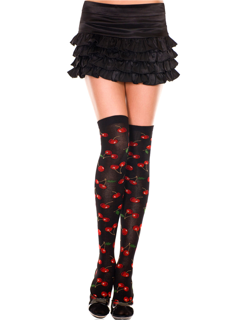 Black & Red Cherry Print Acrylic Thigh High Hosiery, One Size