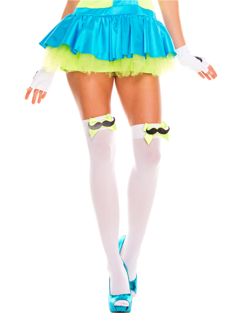 White/Neon Green Mustache and Bow Thigh High Hosiery, One Size