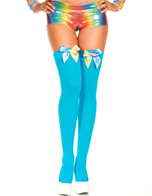 Turquoise Blue Opaque Rainbow Satin Bow Thigh High, One Size