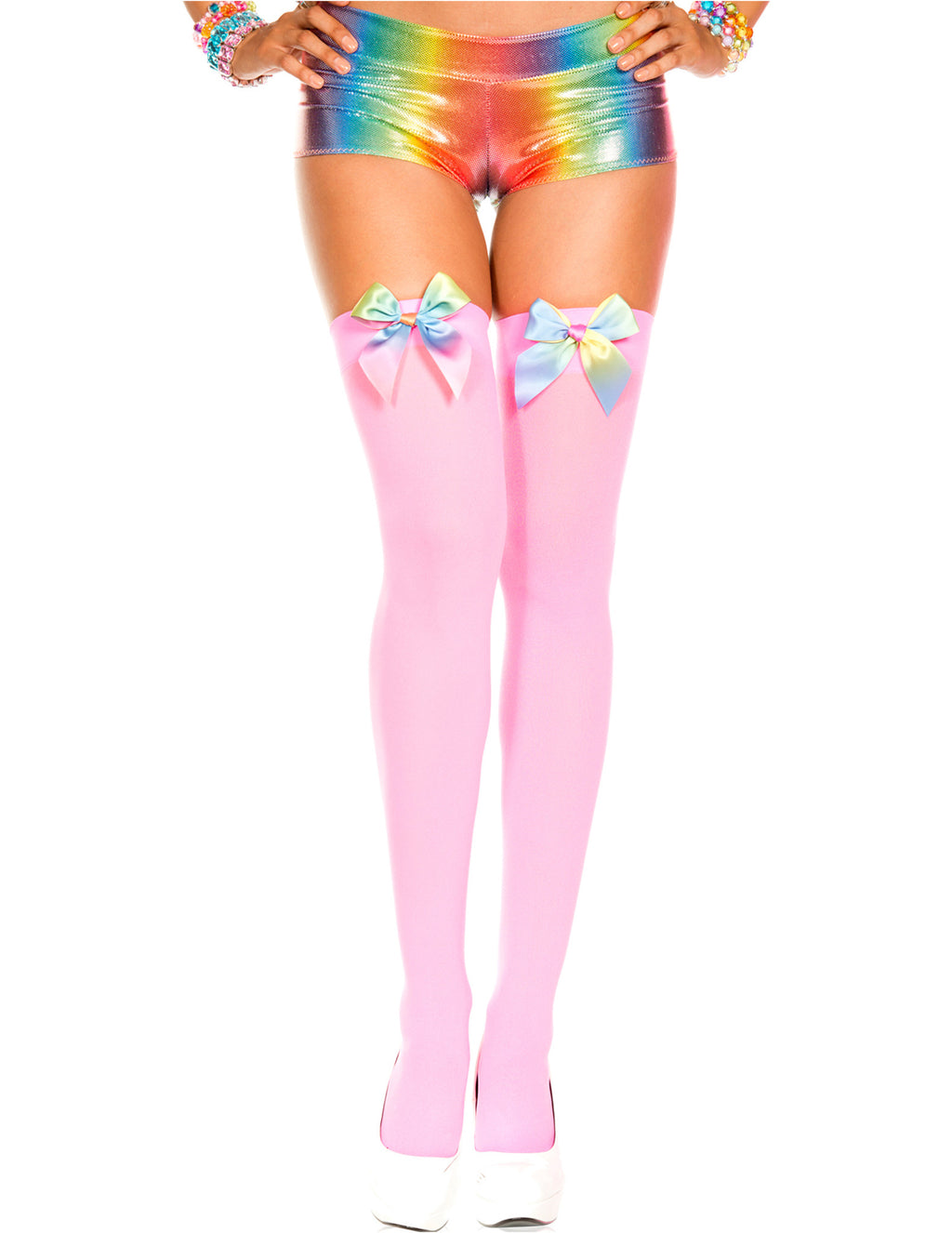 Neon Pink Opaque Rainbow Satin Bow Thigh High, One Size