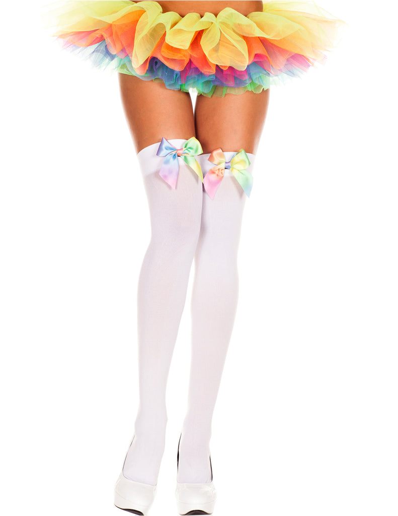 White Opaque Rainbow Satin Bow Thigh High Hosiery, One Size