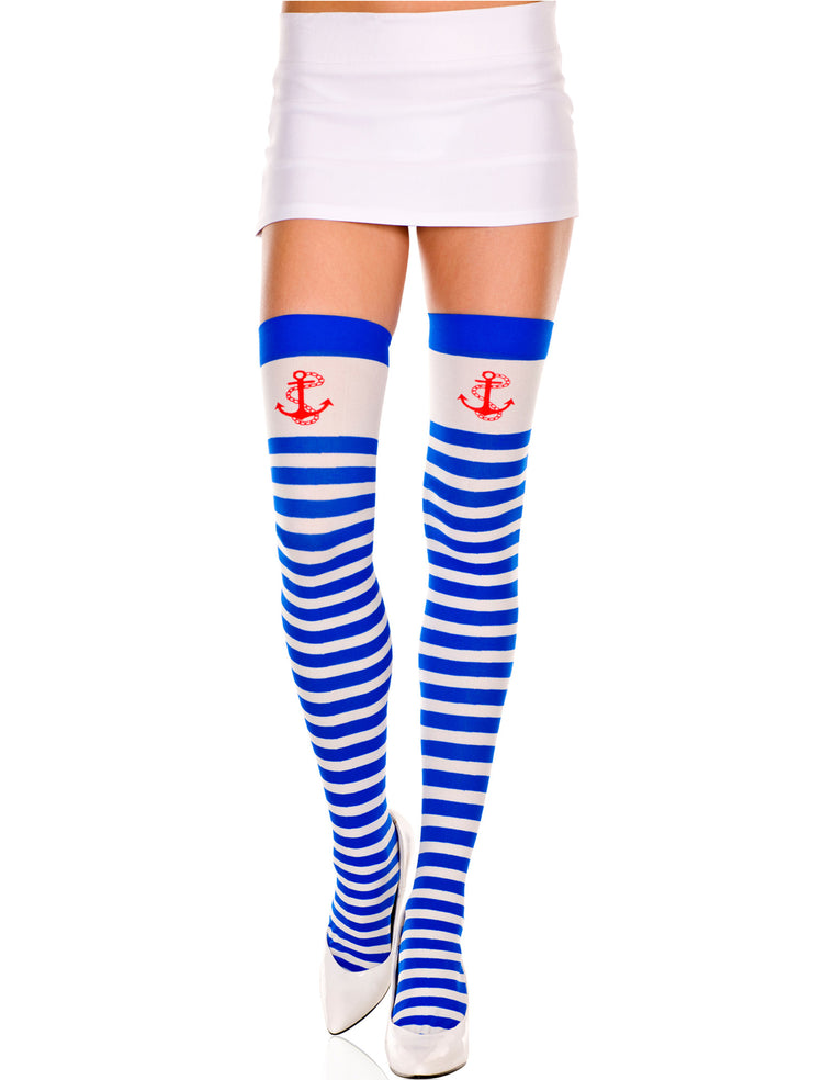 Blue and White Striped Opaque Anchor Print Thigh Hi Hosiery, One Size