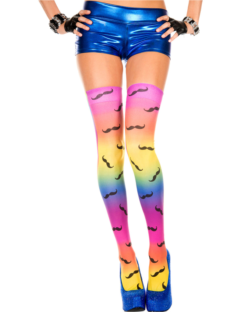 Rainbow Colored Thigh High Stockings with Mustache Print, One Size