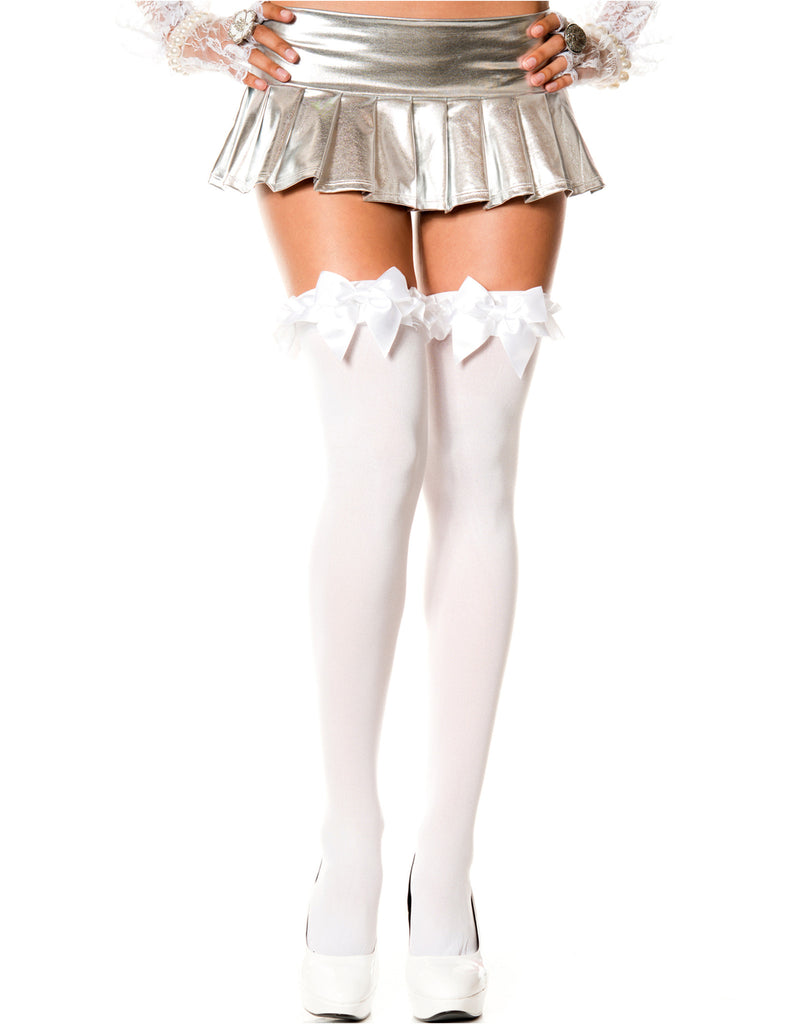 White Thigh Hi Hosiery with Satin Bow and Ruffle, One Size