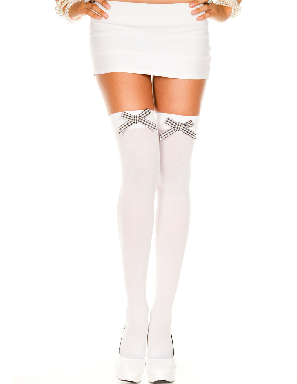 White Opaque Thigh High Stockings with Black and White Checker Bow, One Size