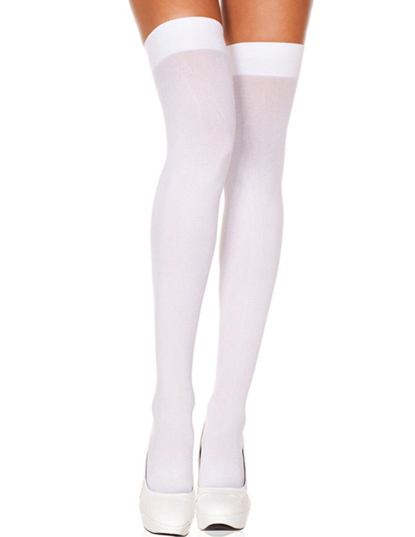 Plus Size White Opaque Thigh Hi Hosiery