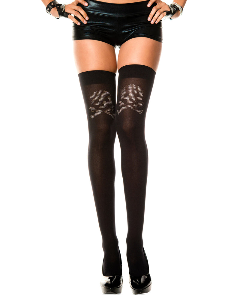 Black Opaque Thigh High Stocking with Big Skull Rhinestones, One Size