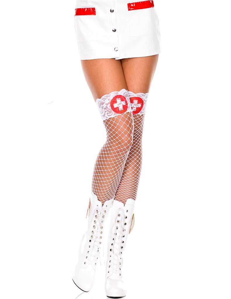 White Mini Diamond Net Thigh High with White Cross Print Lace Top Spandex Stocking
