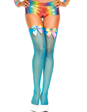 Turquoise Blue Fishnet Thigh Hi Stockings with Rainbow Colored Bow, One Size