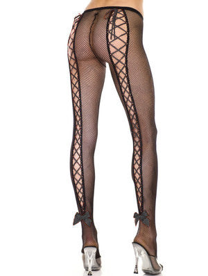 Corset Back Fishnet Pantyhose (Laces Included)
