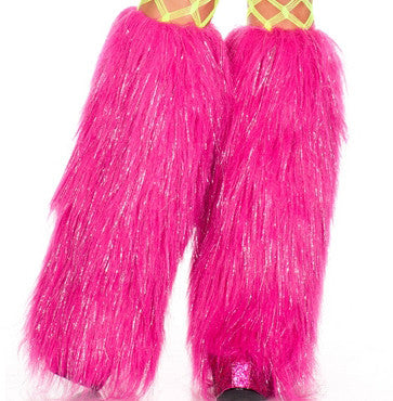 Furry Lurex Leg Warmers In Hot Pink