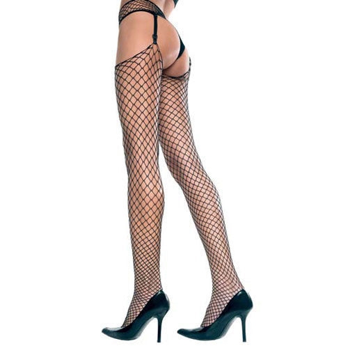 Plus Size Mini Diamond Net Spandex Garterbelt Stockings