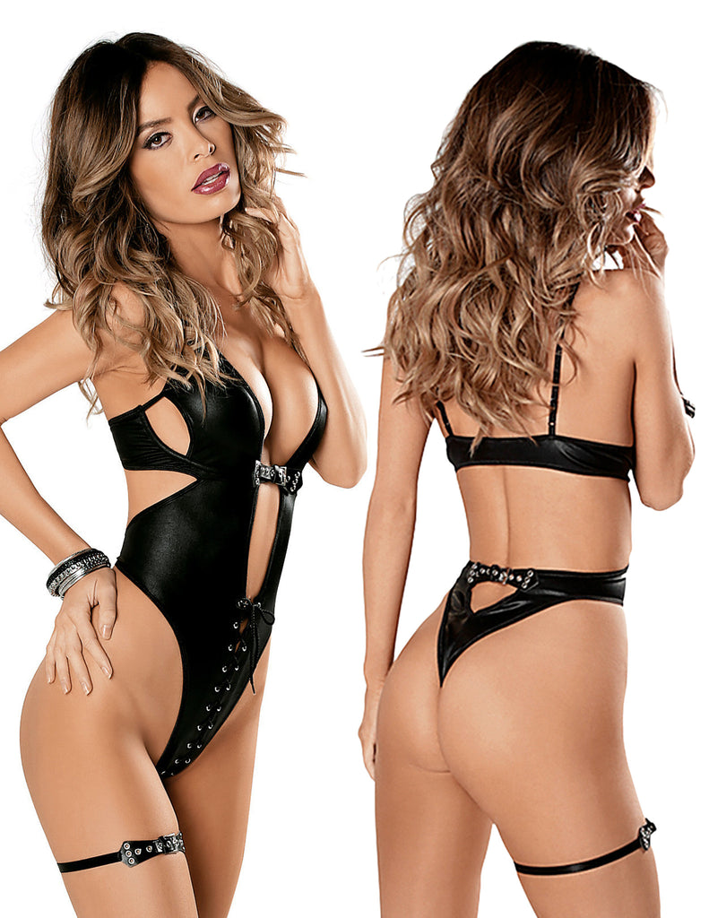 Midnight Lace Up Front Teddy Set