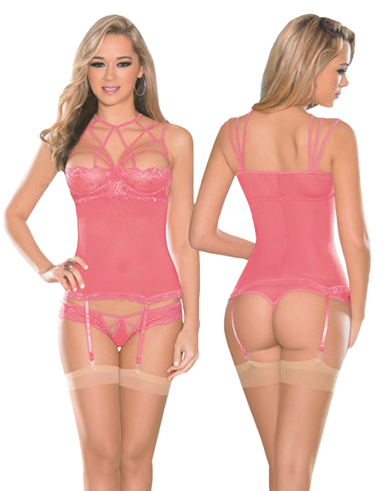 Strappy Coral Bustier Set