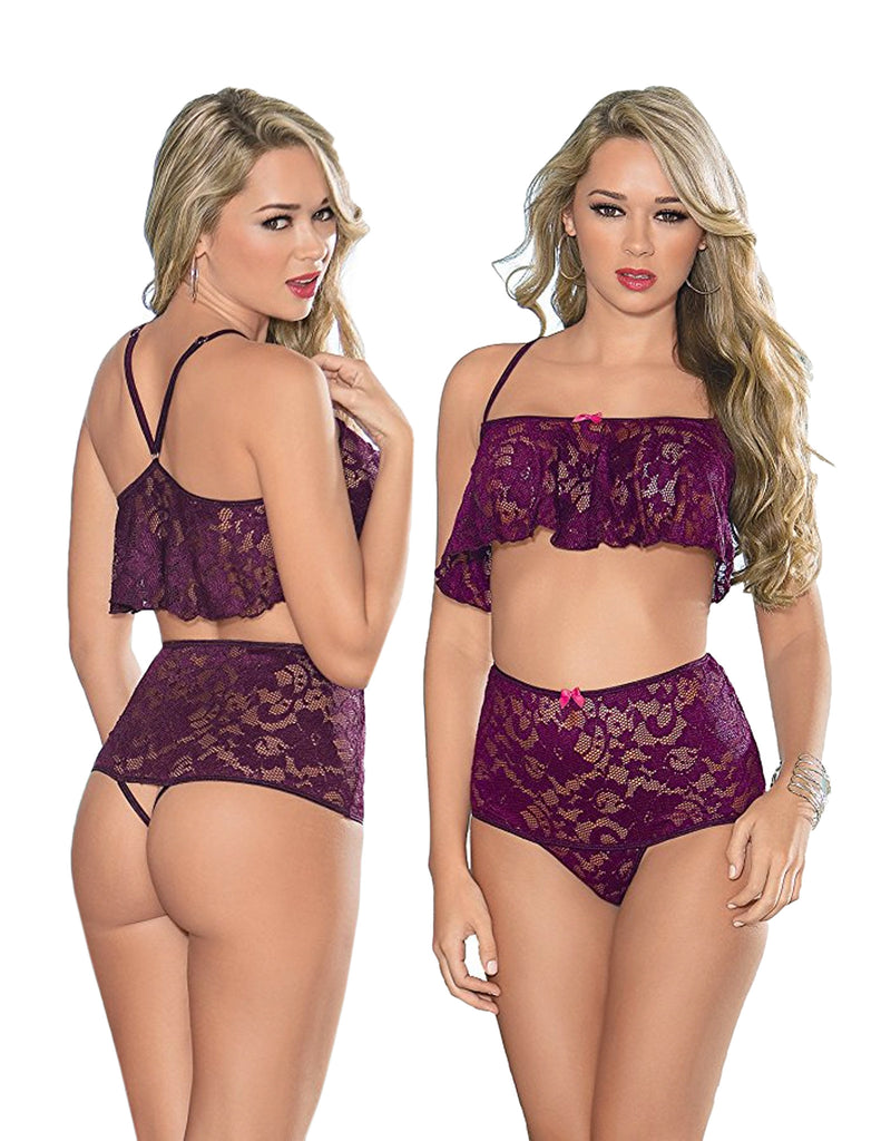 Hi-Waist Lace Plum Cami Set