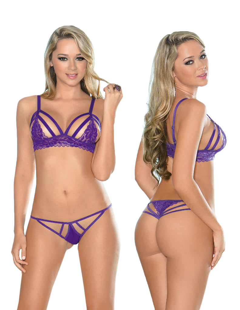 Purple Strappy Bra Set