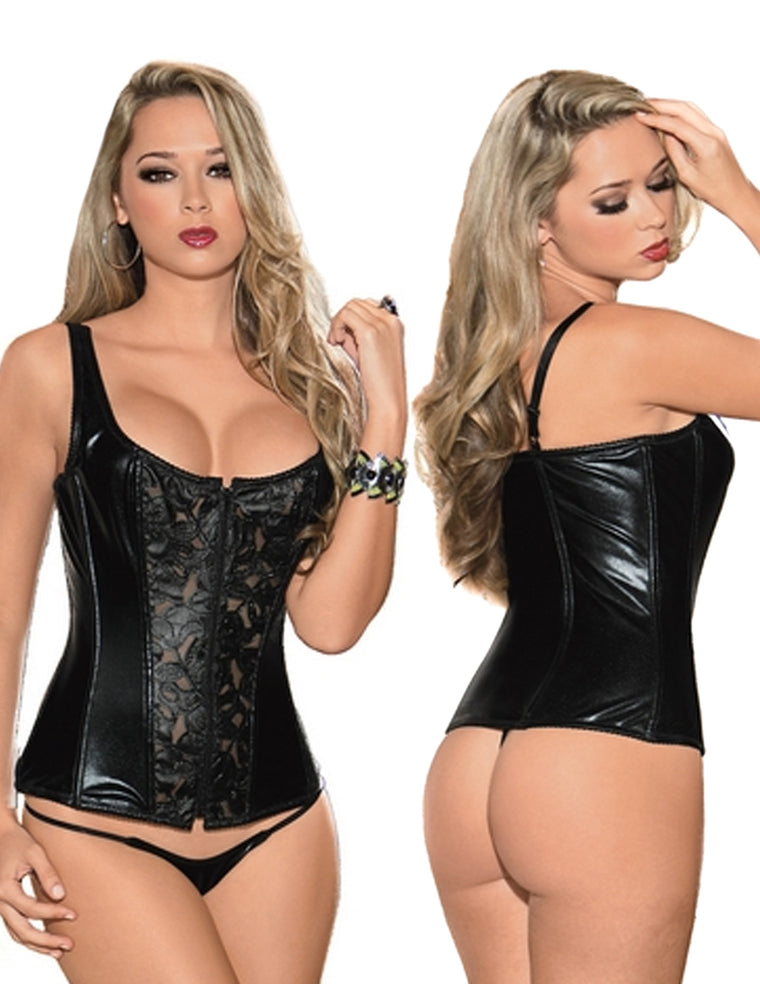 Faux Leather & Lace Corset