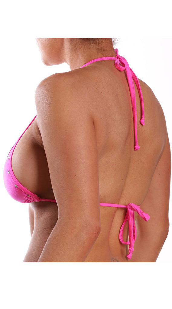Jeweled Triangle Bikini Top Neon Pink