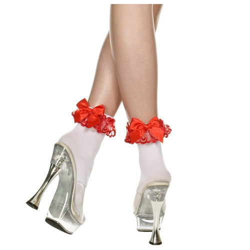 Opaque Lace Ruffle Anklet With Satin Bow