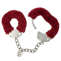 Consent and Comply Furry Cuffs - Red