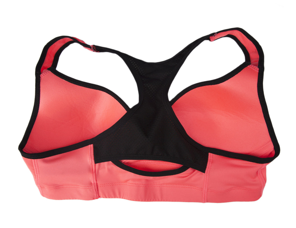 Coral and Black Low Impact Mesh Racerback Sports Bra