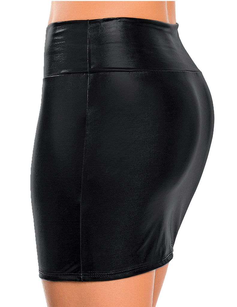 Metallic Midi Skirt Liquid Black