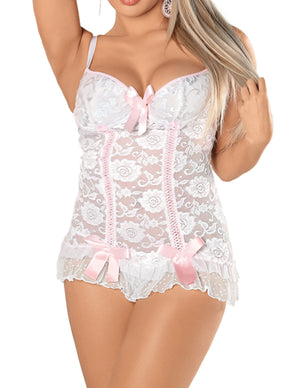 Plus Size White Chemise with G-String - 2 Piece Lingerie Set