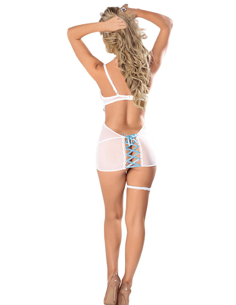 Lace and Mesh Dress with Choker and Garter - 4 Piece Set