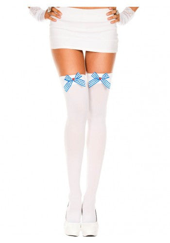 Checker Bow With Heart Rhinestone Opaque Thigh Hi