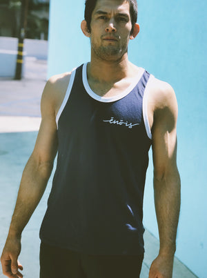 Navy and White Premium Vintage Tank | Limited Edition Versão