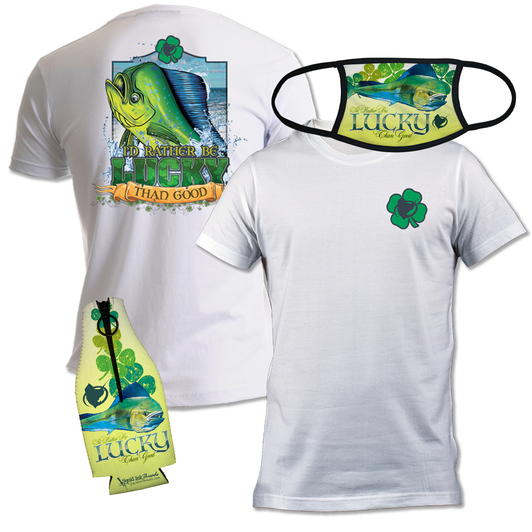 Lucky Mahi - Men's Short Sleeve Shirt plus Bottle Koozie and Face Mask Bundle