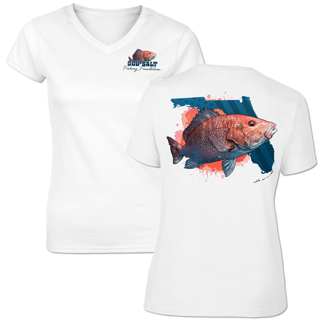 American Red Snapper - Ladies Short Sleeve V-Neck Performance Shirt