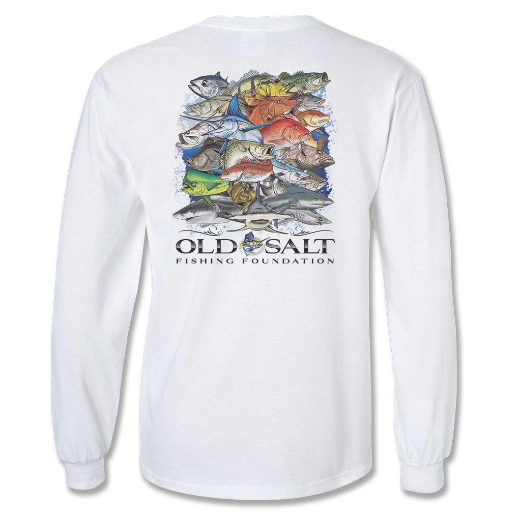 "Men's ""Fishing Frenzy"" Long Sleeve Cotton/Poly Tee - White"