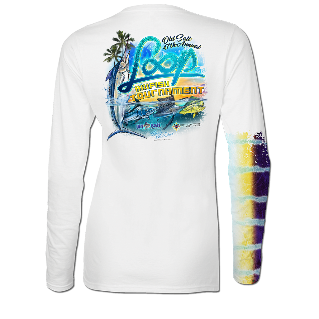 2017 Old Salt Loop Billfish Tournament Ladies Long Sleeve Performance V-Neck