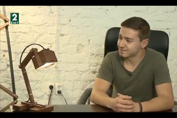 Dimitar talking about lamps on Bulgarian TV BNT2