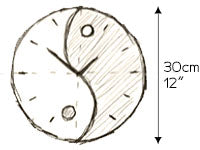 zen wall clock sketch by paladim handmade