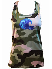 "NEW Favorite fit - ""Wave"" Racerback Tank - Green Camo"