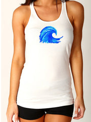 "NEW Favorite fit ""Wave"" Racerback Tank - white"