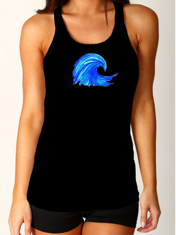 "NEW Favorite fit - ""Wave"" Racerback Tank - Black"