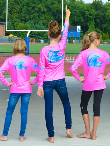 "GIRLS ""Wave"" Performance long sleeve - hot pink"