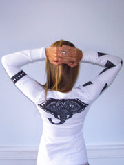 """Tribal"" Performance long sleeve- white"