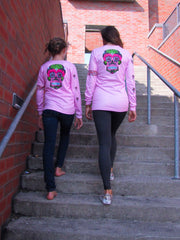 """Happy Skull"" performance long sleeve - pink"